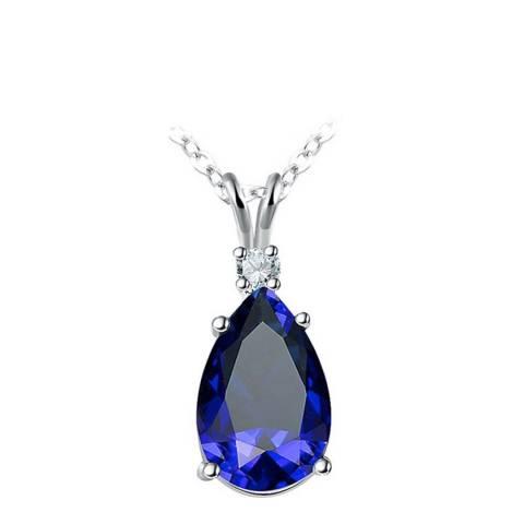 SWAROVSKI Sapphire Tear Drop Necklace with Swarovski Crystals
