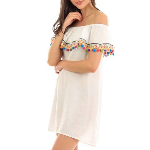 Fille de Coton White Tassel Cotton Dress