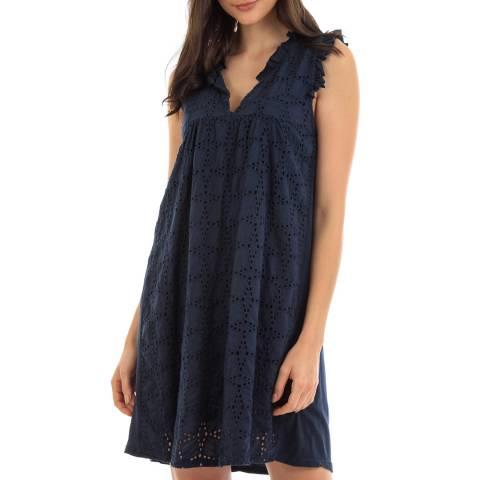 Fille de Coton Navy Embroidered Cotton Dress
