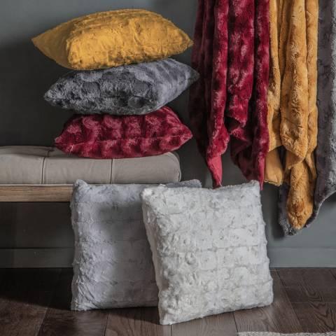 Gallery Gunmetal Grey Stellan Fur Cushion 43x43cm