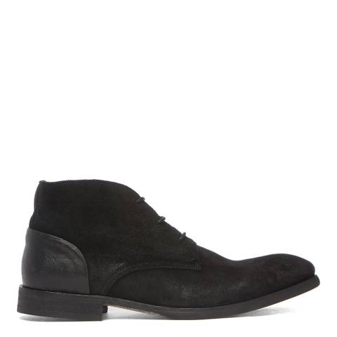 Hudson London Black Suede Ryecroft Lace Up Boots