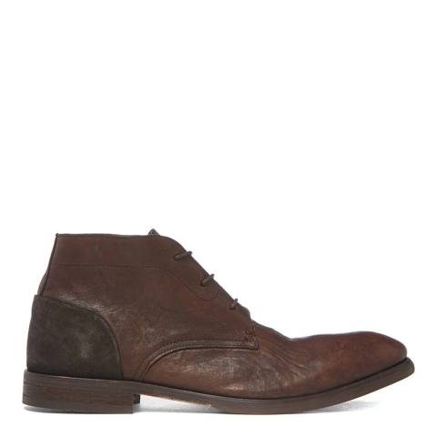 Hudson London Brown Washed Leather Ryecroft Lace Up Boots