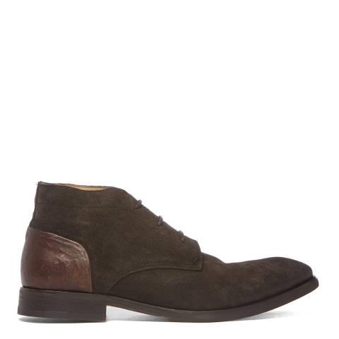Hudson London Dark Brown Suede Ryecroft Lace Up Boots