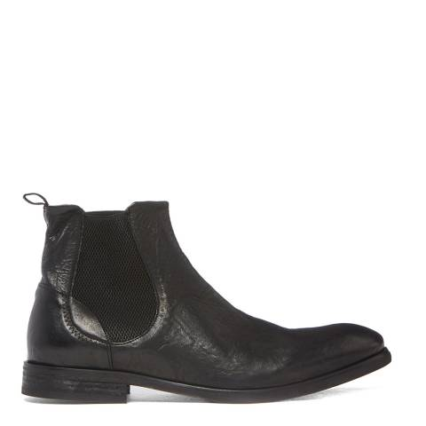 Hudson London Black Washed Leather Watchley Chelsea Boots