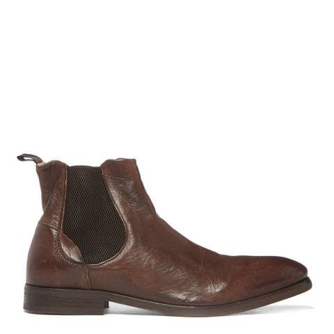 Hudson London Brown Washed Leather Watchley Chelsea Boots