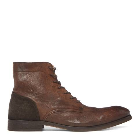 Hudson London Brown Washed Leather Yoakley Lace Up Boots