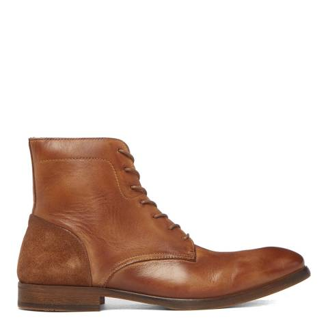 Hudson London Tan Washed Leather Yoakley Lace Up Boots