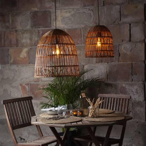 Solar Editions Brown Rattan Lamp Shade 35cm