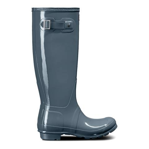 Hunter Gull Grey Original Tall Gloss Wellington Boot