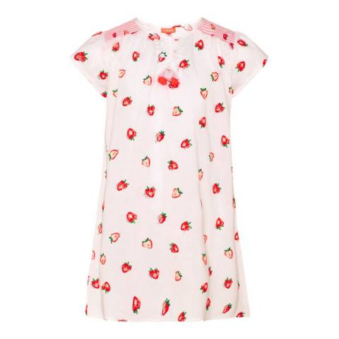 Sunuva Girls White Strawberry Crush Kaftan Dress