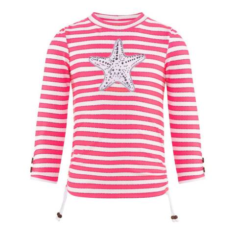 Sunuva Girls Neon Pink Starfish Classic Rash Vest