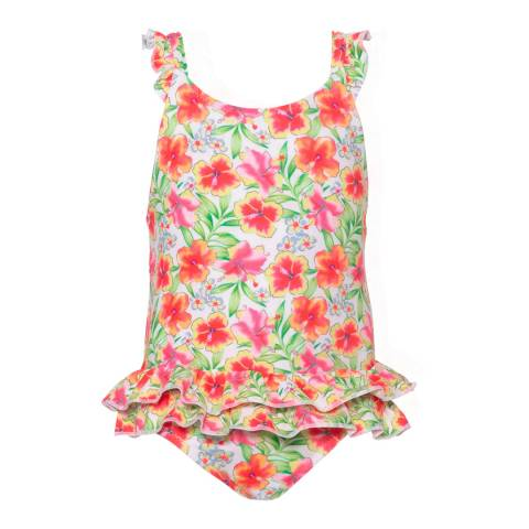 Sunuva Baby Girls Orange Tropical Frill Swimsuit