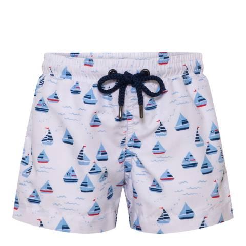 Sunuva Baby Boys White Little Boats Swim Short