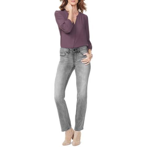 NYDJ Grey Marilyn  Straight Stretch Jeans