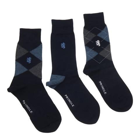 Pringle Black Label Navy Waverly Argyle 3 Pack Bamboo Socks
