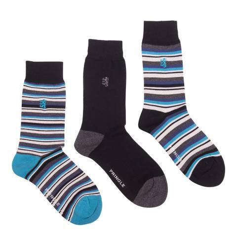 Pringle Black Label Black/Multi 3 Pack Stripe Bamboo Socks