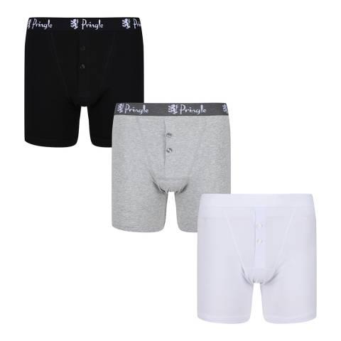 Pringle Black/Grey/White 3 Pack Boxer Shorts