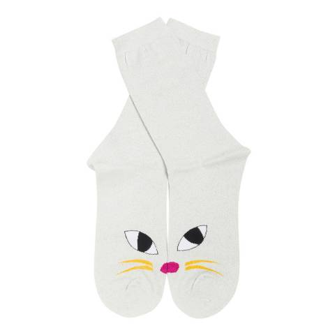 Lulu Guinness Silver Glitter Kooky Cat Ankle Socks