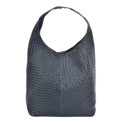 Mangotti Navy Leather Shoulder Bag