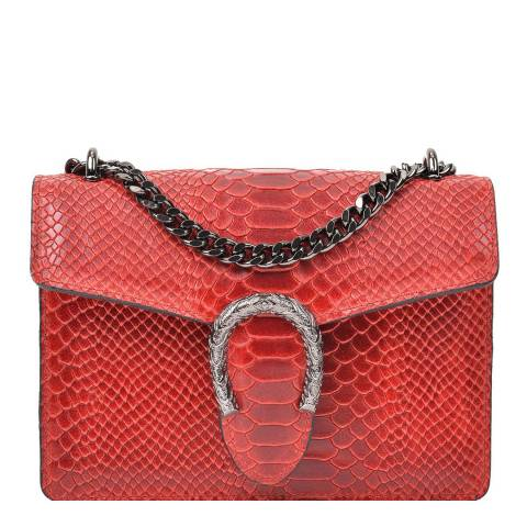 Renata Corsi Red Horseshoe Detail Leather Shoulder Bag