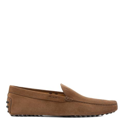 Tod's Castoro Brown Suede Gommini Loafers