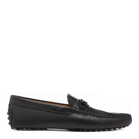 Tod's Nero Black Leather Macro Clamp Loafers