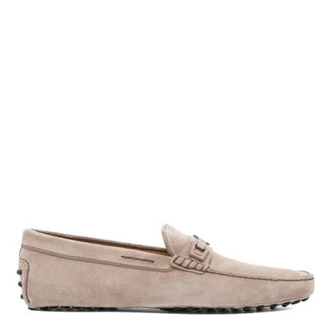 Tod's Tortora Beige Suede Macro Clamp Loafers