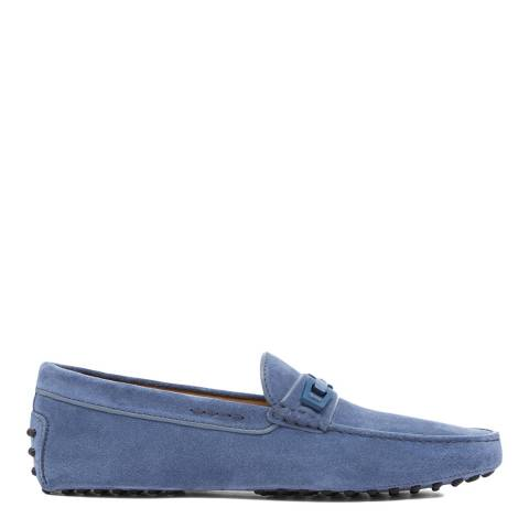 Tod's Blue Jeans Suede Macro Clamp Loafers