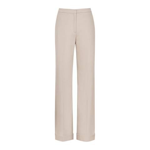 Reiss Beige Carla Wide Wool Blend Trousers