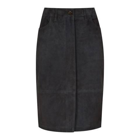 Reiss Charcoal Tammi Suede Pencil Skirt
