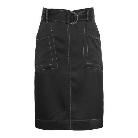Reiss Black West Contrast Sitch Skirt