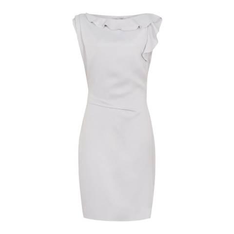 Reiss Light Grey Tyra Frill Dress