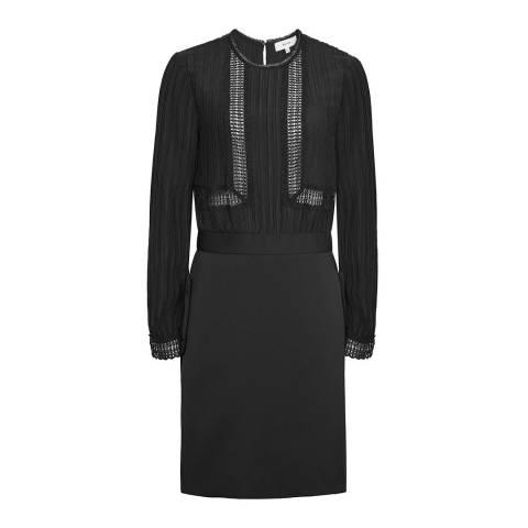 Reiss Black Bruna Lace Top Dress