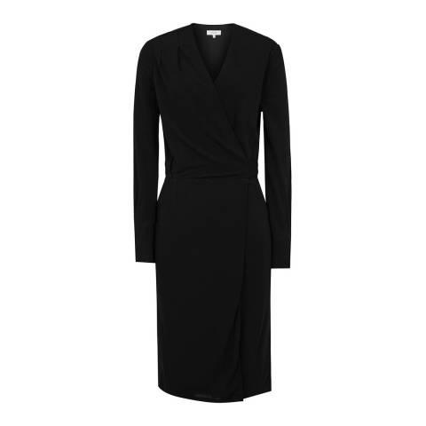 Reiss Black Grace Wrap Dress