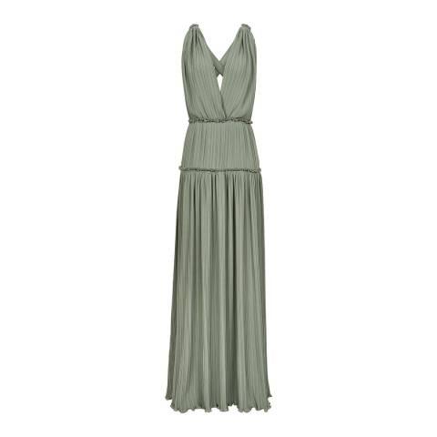 Reiss Green Gigi Pleat Maxi Dress
