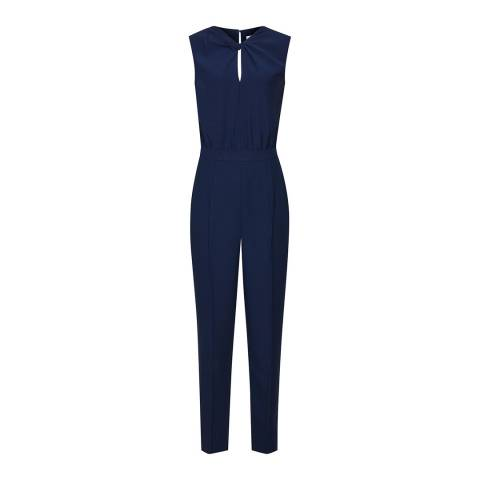 Reiss Navy Leoni Knot Detail Jumpsuit