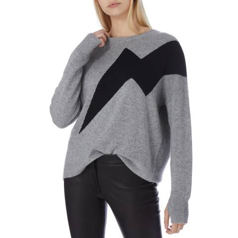N°· Eleven Grey/Black Cashmere Lightning Bolt Jumper