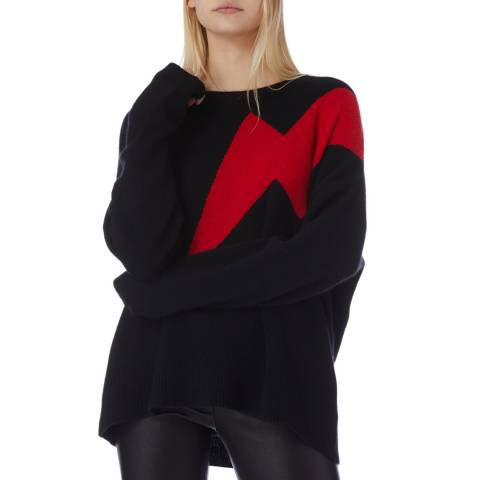 N°· Eleven Black/Red Cashmere Lightning Bolt Jumper