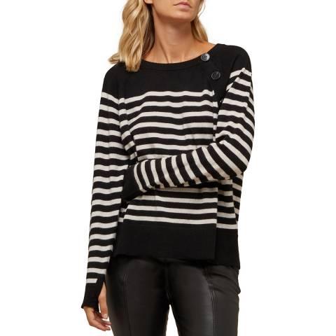 N°· Eleven Black/Cream Cashmere Stripe Button Jumper