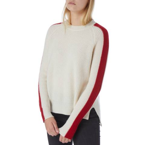N°· Eleven Cream Cashmere Red Stripe Sleeve Jumper