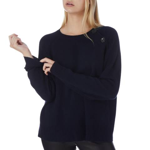 N°· Eleven Navy Cashmere Button Jumper