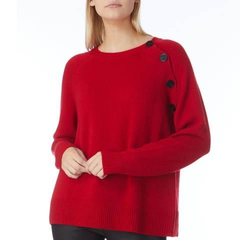 N°· Eleven Red Cashmere Button Jumper