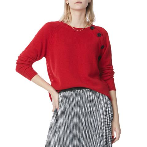 N°· Eleven Red Cashmere Button Jumper
