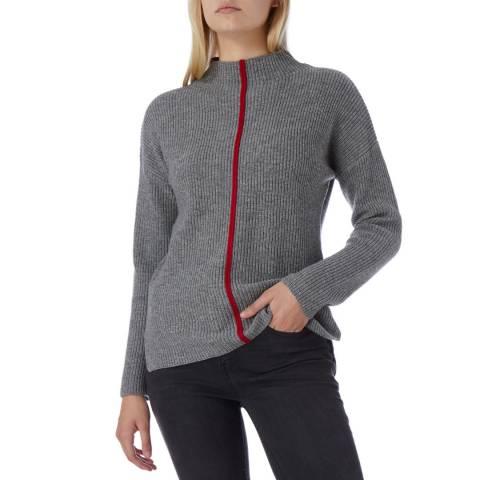 N°· Eleven Grey Cashmere Blend Contrast Stripe Jumper