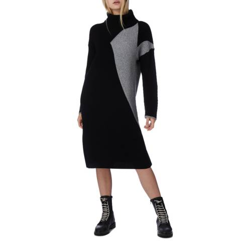 N°· Eleven Black/Grey Cashmere Blend Colour Block Dress
