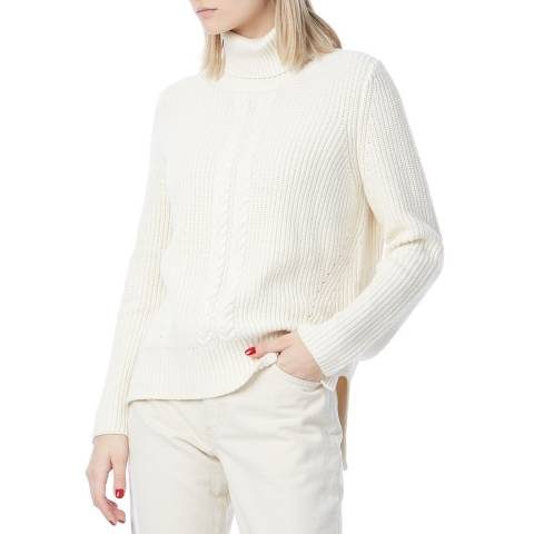 N°· Eleven Cream Cashmere Blend Cable Knit Funnel Neck Jumper