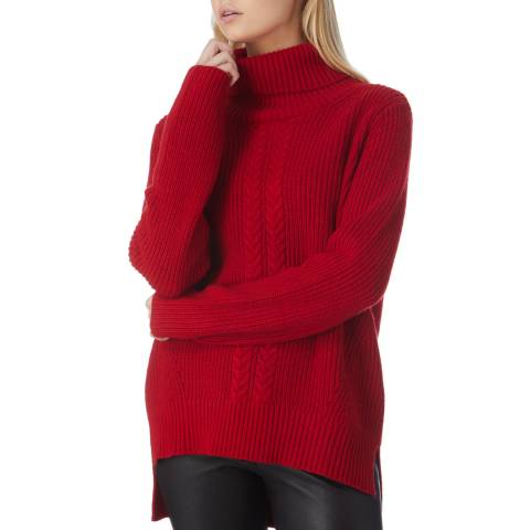 N°· Eleven Red Cashmere Blend Cable Knit Funnel Neck Jumper
