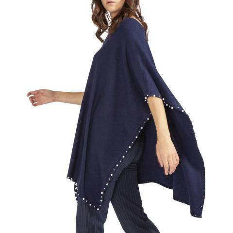 JayLey Collection Navy Pearl Cashmere Blend Poncho