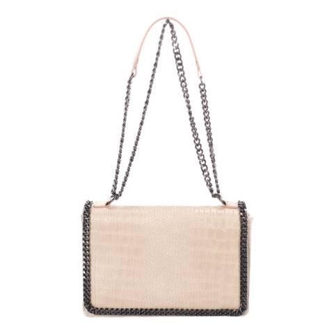 Lisa Minardi Dusty Pink Croc Leather Flap Over Bag