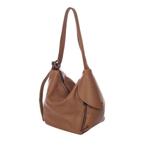 Giulia Massari Cognac Leather Shoulder Bag